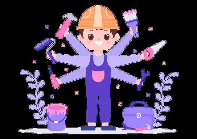 Male worker doing house renovation Illustration