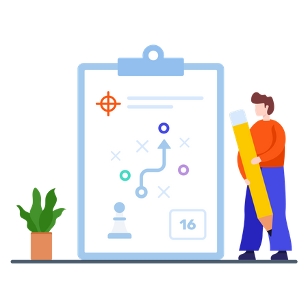 Male worker making plan to achieve his goal Illustration