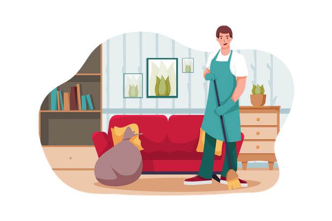 Male worker sweeping the floor Illustration