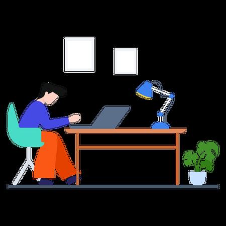 Male worker working on laptop Illustration