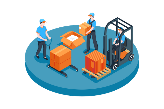 Male workers arranging boxes in warehouse Illustration