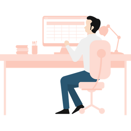 Male working on SEO plan Illustration