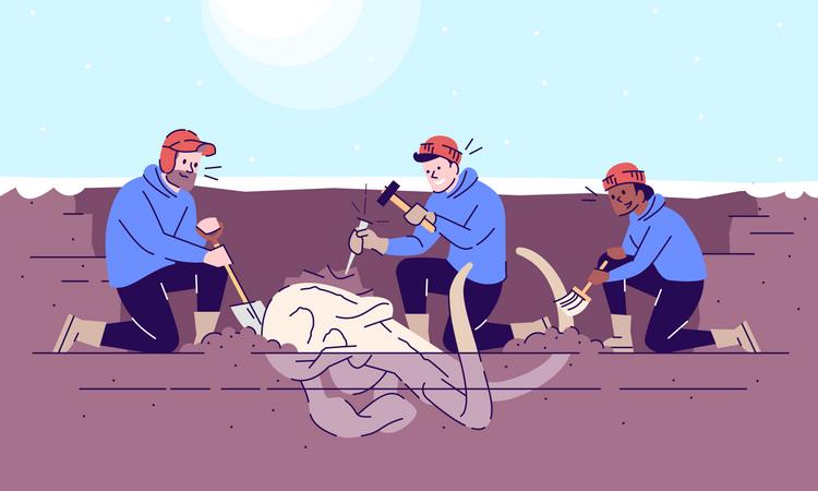 Mammoth skull excavation Illustration