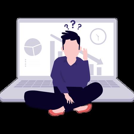 Man analyze business loss Illustration