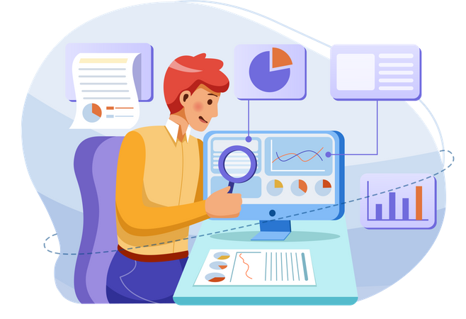 Man analyzing business growth Illustration