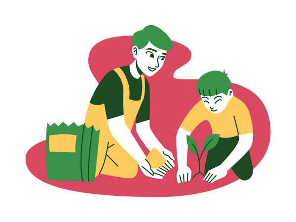 Man and child gardening Illustration