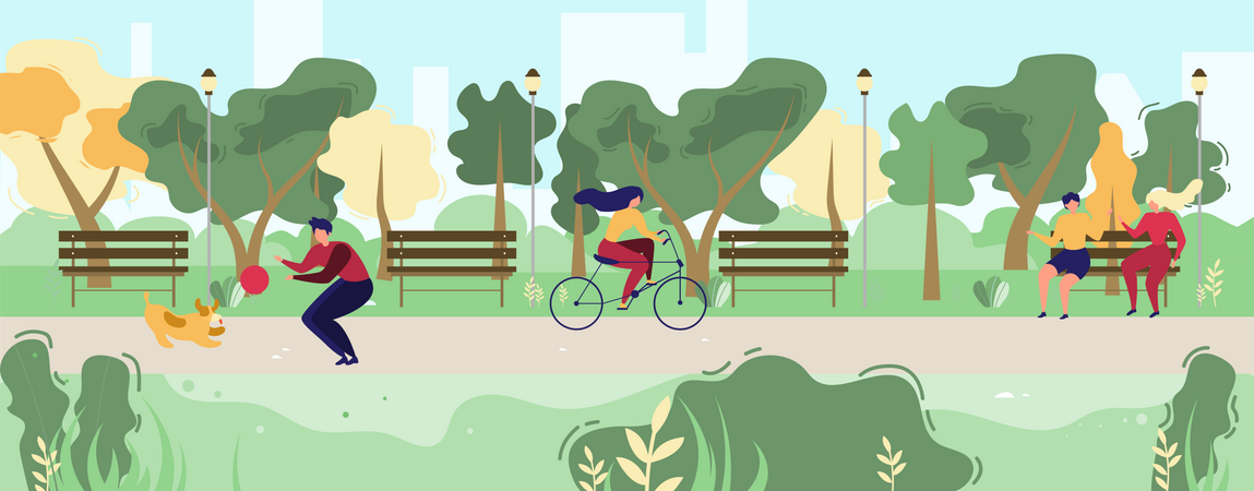 Man and Dog Playing with Ball, Woman Riding Bicycle Illustration