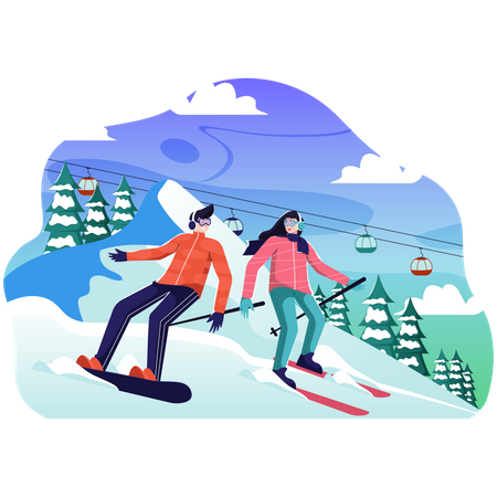 Man and female Skiing in snow Illustration