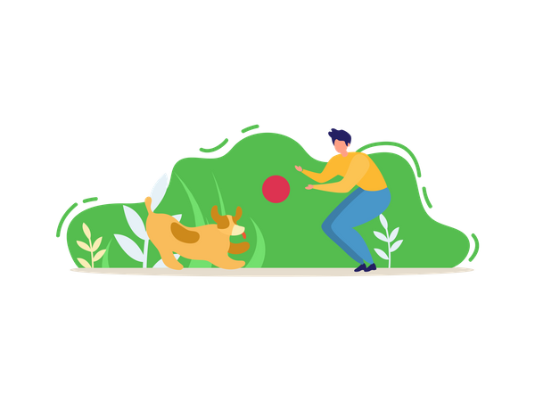 Man and his pet Dog Playing with Ball in Park Illustration