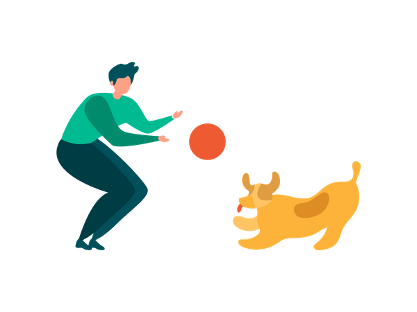 Man and his pet Playing with Ball in Park Illustration