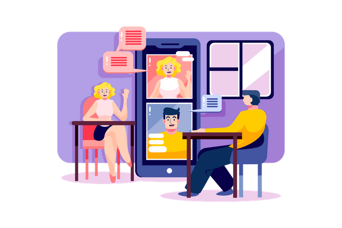 Man and woman are having online meeting by smartphone Illustration