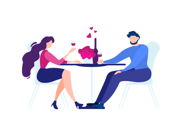 Man and Woman at Restaurant Table Drink Wine Illustration