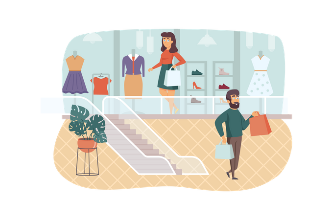 Man and woman buying stylish clothes and shoes Illustration