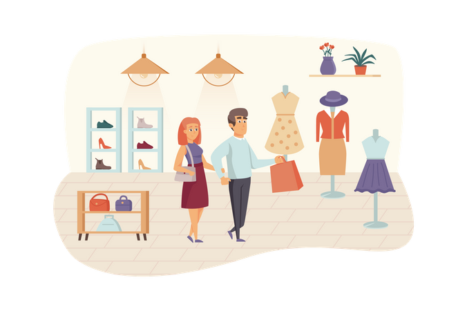 Man and woman buying stylish clothes, shoes and bags Illustration