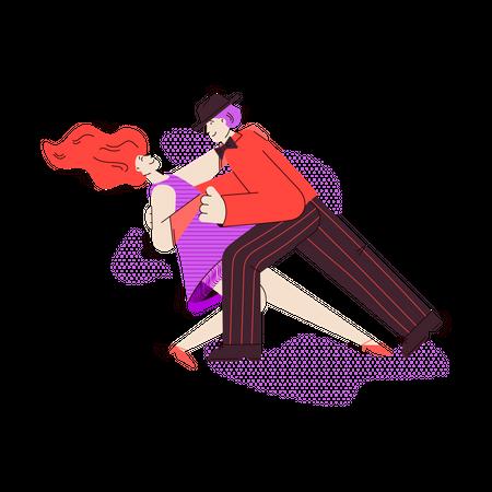 Man and woman cartoon characters dancing tango Illustration