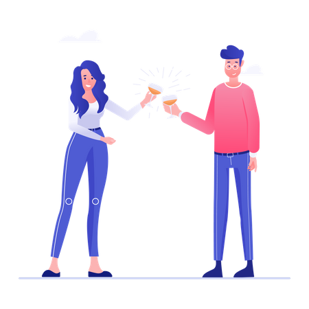 Man and Woman Celebrating business success Illustration