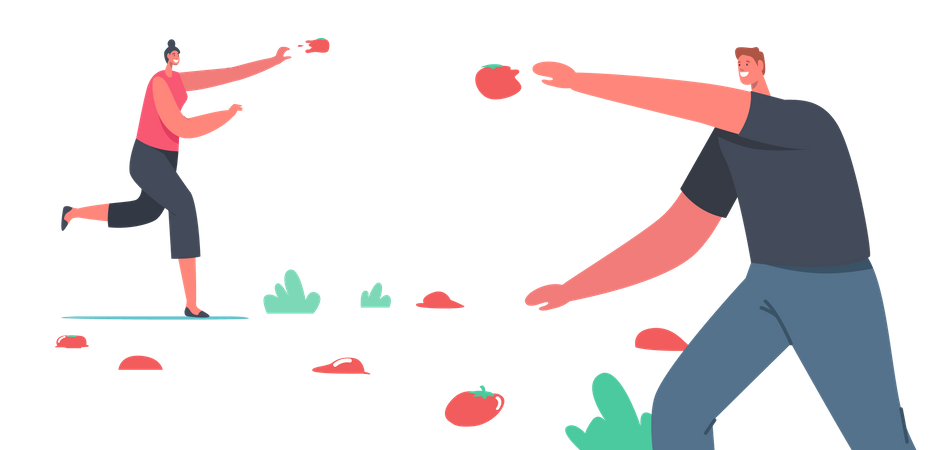 Man and Woman celebrating la tomatina festival by throwing tomatoes Illustration