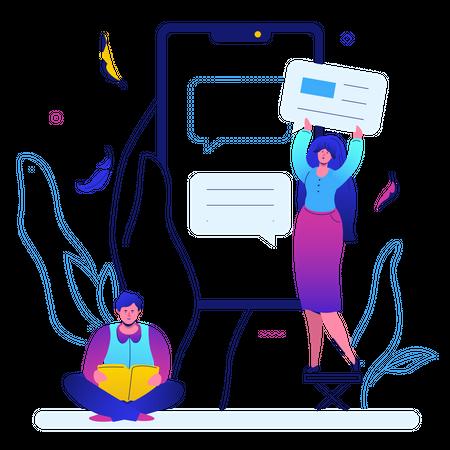 Man and woman chatting Illustration