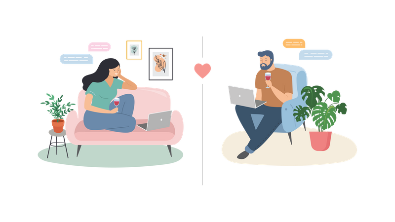 Man and woman chatting in lockdown Illustration