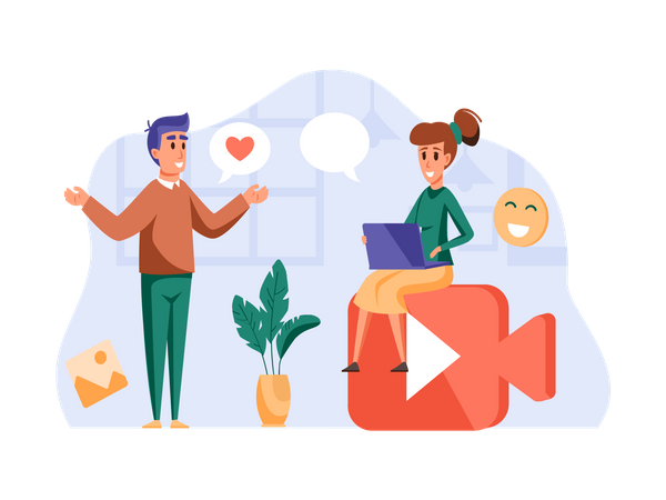 Man and woman Chatting on Video call Illustration