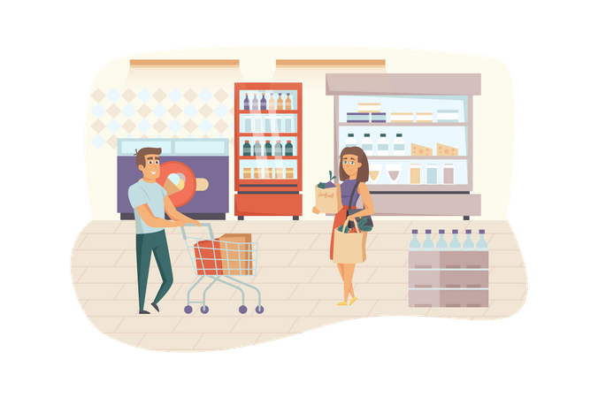 Man and woman choosing and buying food at grocery store Illustration