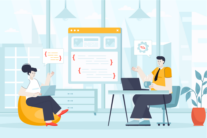 Man and woman coding, create website, app or program interface Illustration