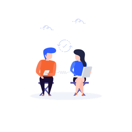Man and woman connected on social media Illustration
