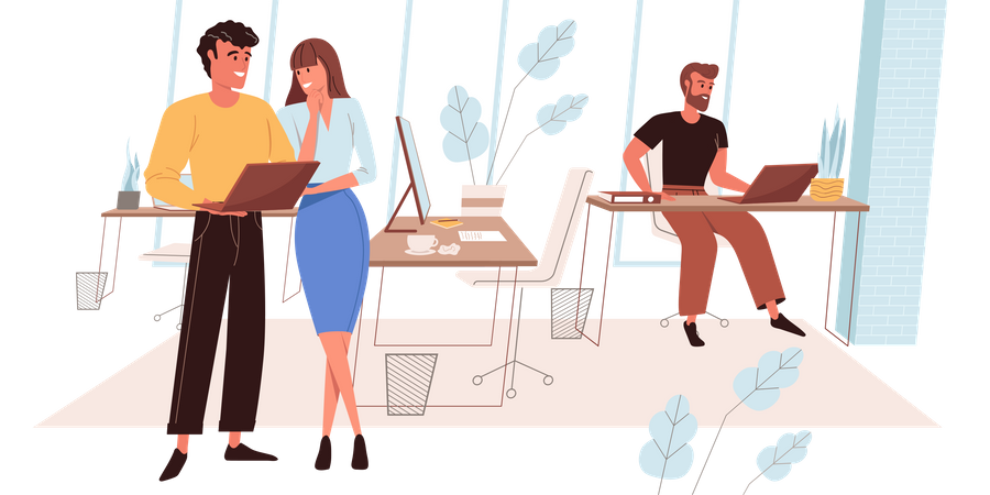 Man And Woman Discussing About Business Work Illustration