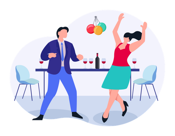 Man and woman doing birthday party Illustration