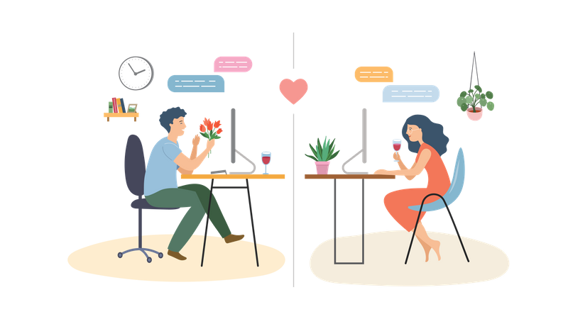 Man and woman doing online dating Illustration