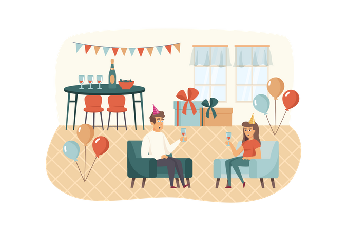 Man and woman drinking wine, relaxing at chairs Illustration