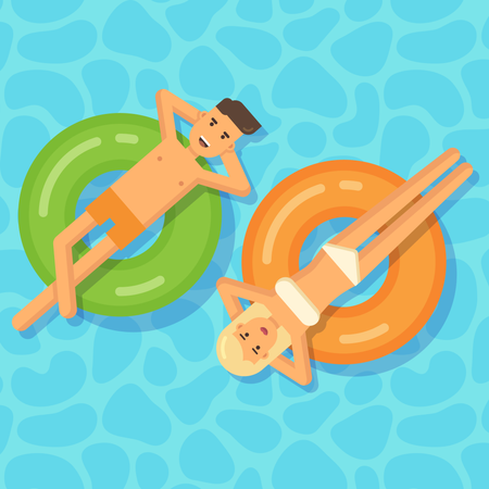 Man and woman floating on inflatable circles in a swimming pool Illustration