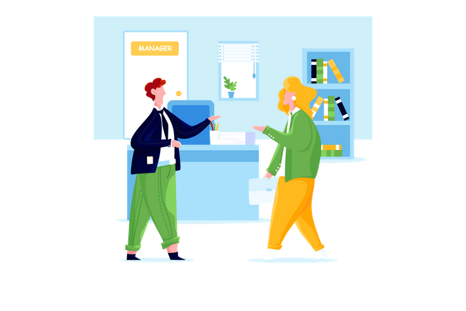 Man and woman having conversation in office Illustration