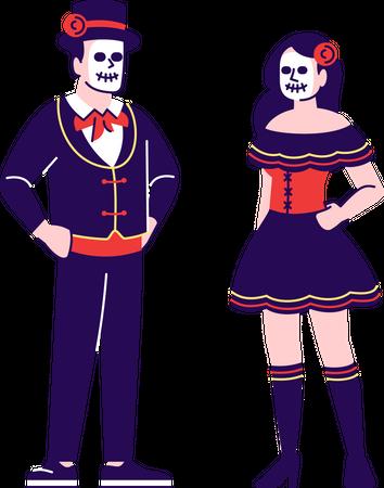 Man and woman in la catrina festival Illustration