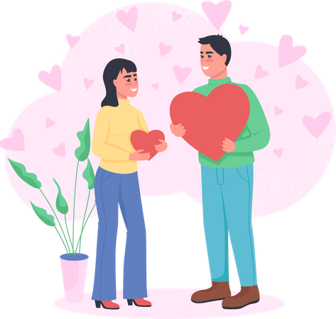 Man and woman in love Illustration