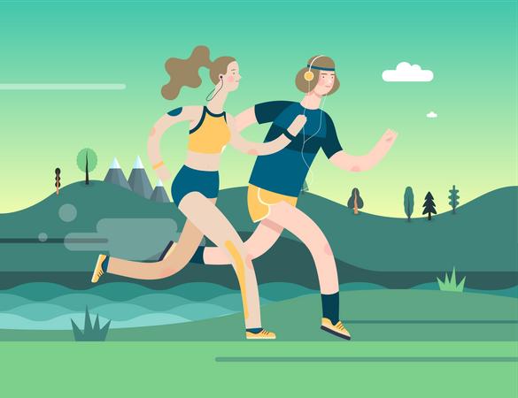 Man and Woman Jogging Illustration