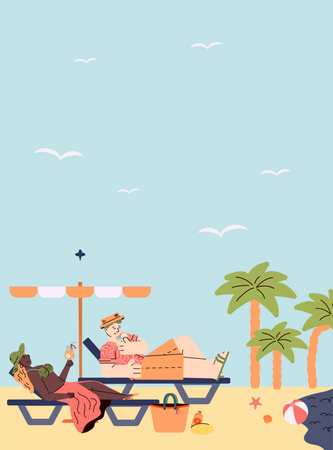 Man and woman lying on beach lounger and drinking cocktail Illustration