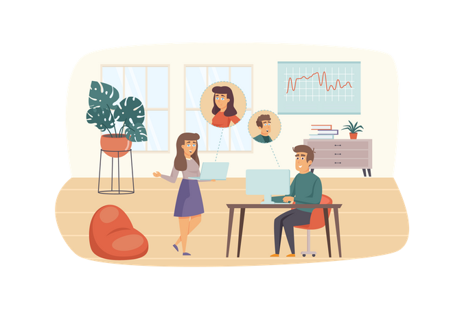 Man and woman make video calls in office Illustration