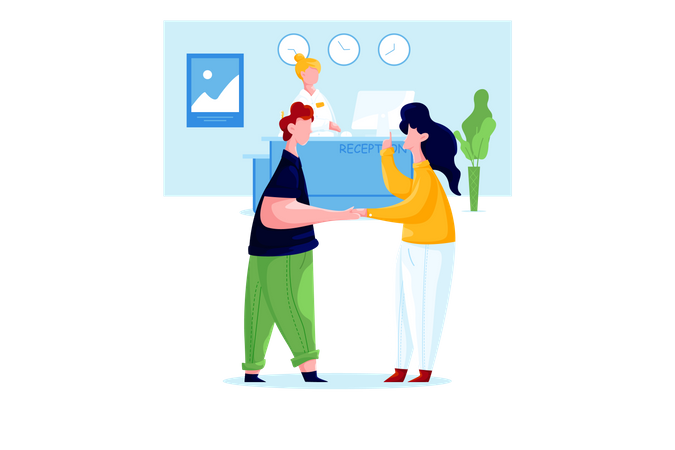 Man and woman meeting near reception in office Illustration