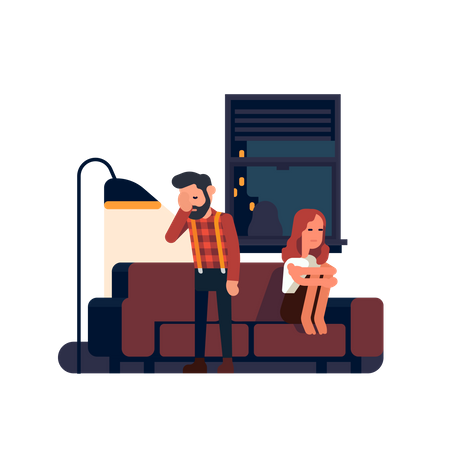 Man and woman not talking to each other after arguing, feeling sad and frustrated Illustration