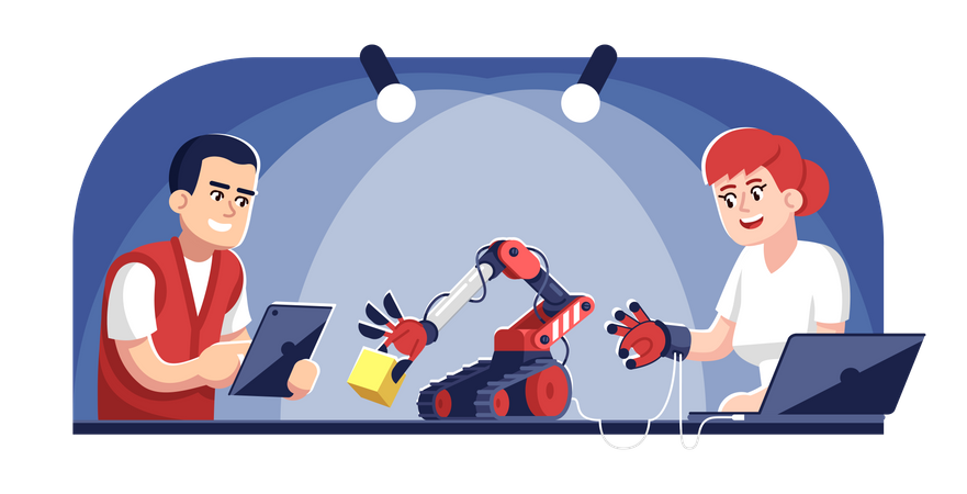 Man and woman operating robot arm Illustration