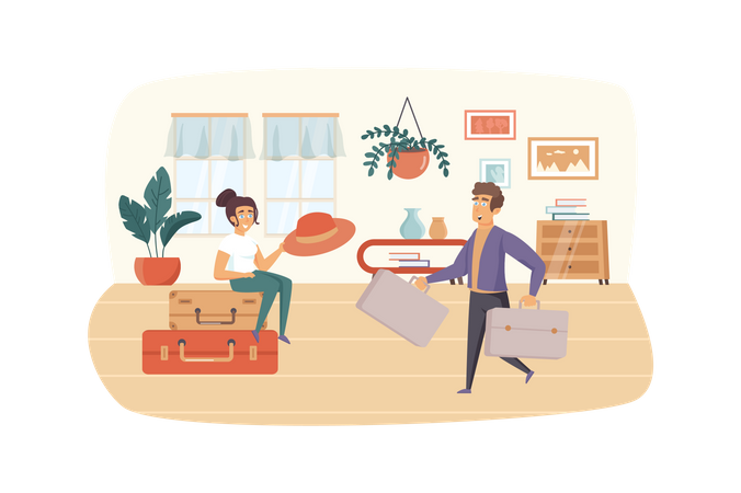Man and woman packing suitcases for vacation Illustration