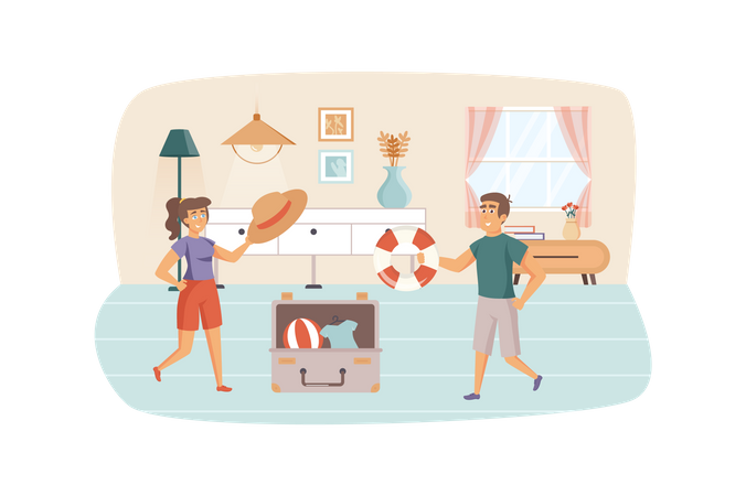 Man and woman packing things in suitcase, preparing for vacation Illustration