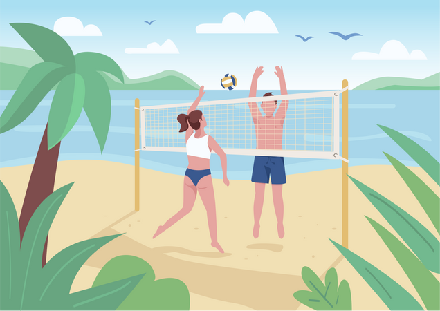 Man and woman playing beach volleyball Illustration