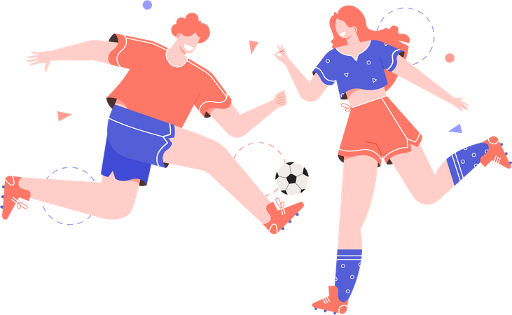 Man and woman playing soccer Illustration