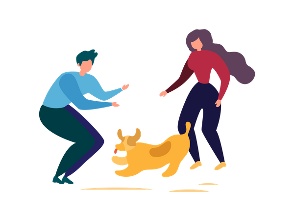 Man and woman playing with dog in park Illustration