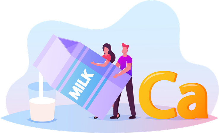 Man and Woman Pouring Milk from Huge Package for Drinking Illustration