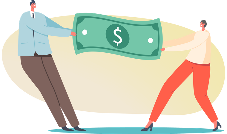Man And Woman Pulling Dollar Fight for Leadership Illustration