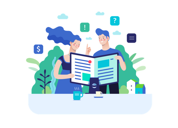 Man and woman reading article Illustration