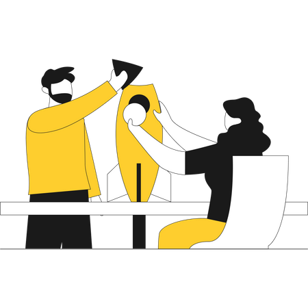 Man and woman ready to launch new business - startup concept Illustration